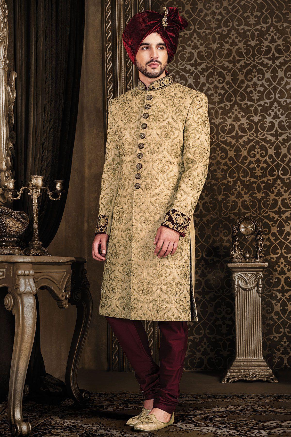 Beige raw silk zari embroidered wedding sherwanish outfits