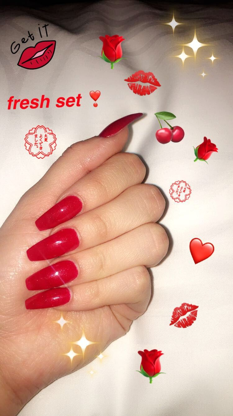 Cherry Red Coffin Nails Red Acrylic Nails Hippie Nails Red Nail Designs