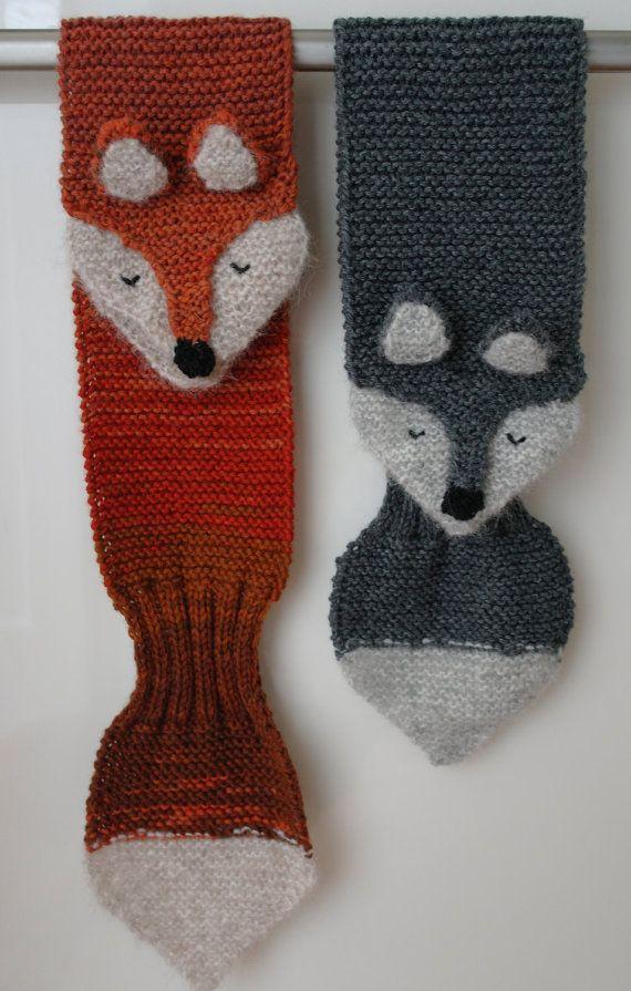 959099680f8e KNITTING PATTERN fox keyhole scarf - PDF pattern for kid s winter ...