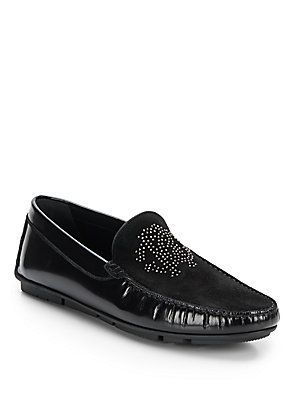 94c8b5dcae Roberto Cavalli Studded Suede & Leather Loafers - Black - Size 8 ...