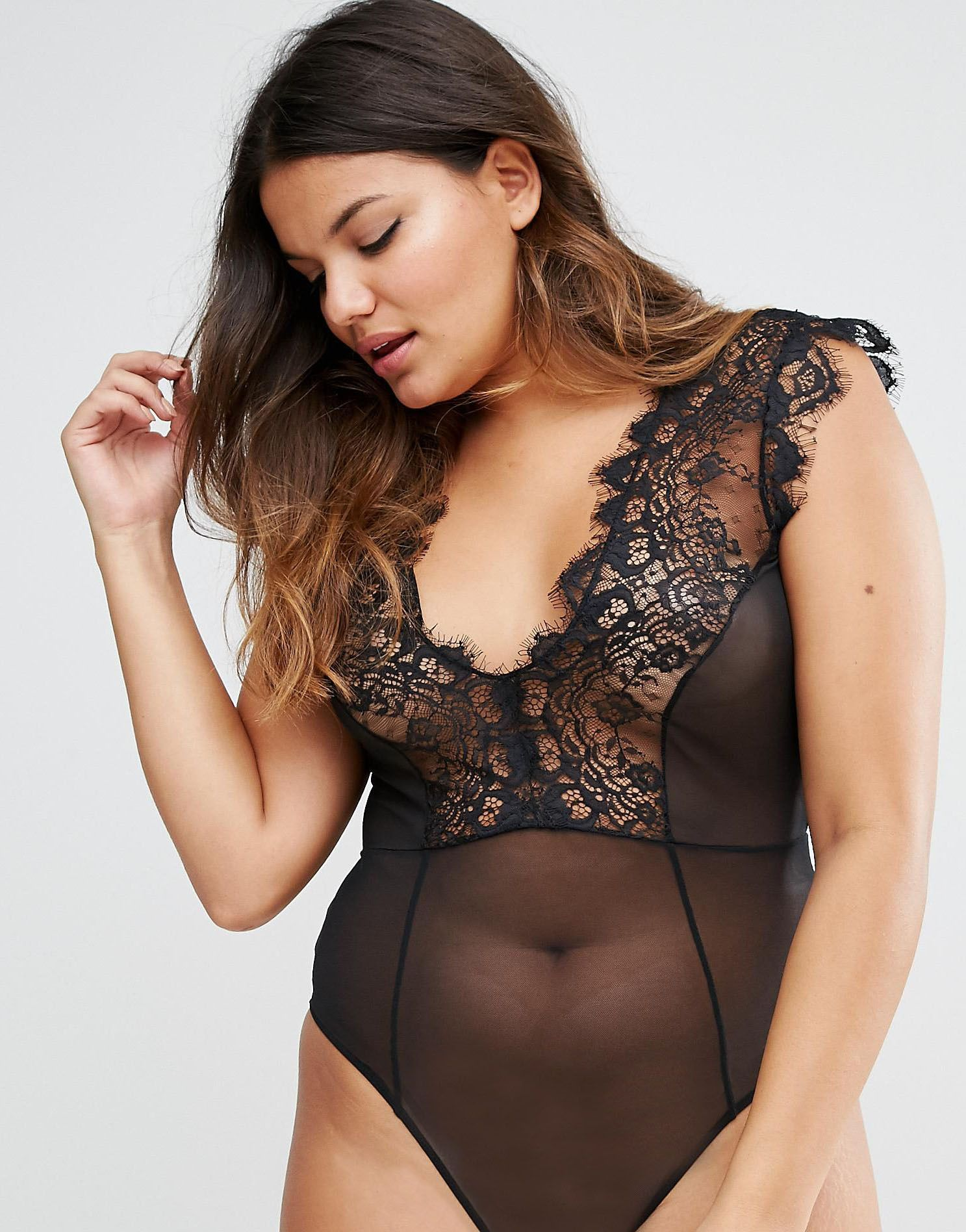 Asos Curve Exclusive Laurie Lace Plunge Long Sleeve Body Find It - Asos curve sidney eyelash lace plunge body