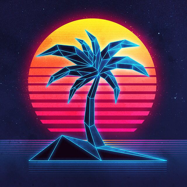 Neon Palm Retro Prints Retro Art Neon