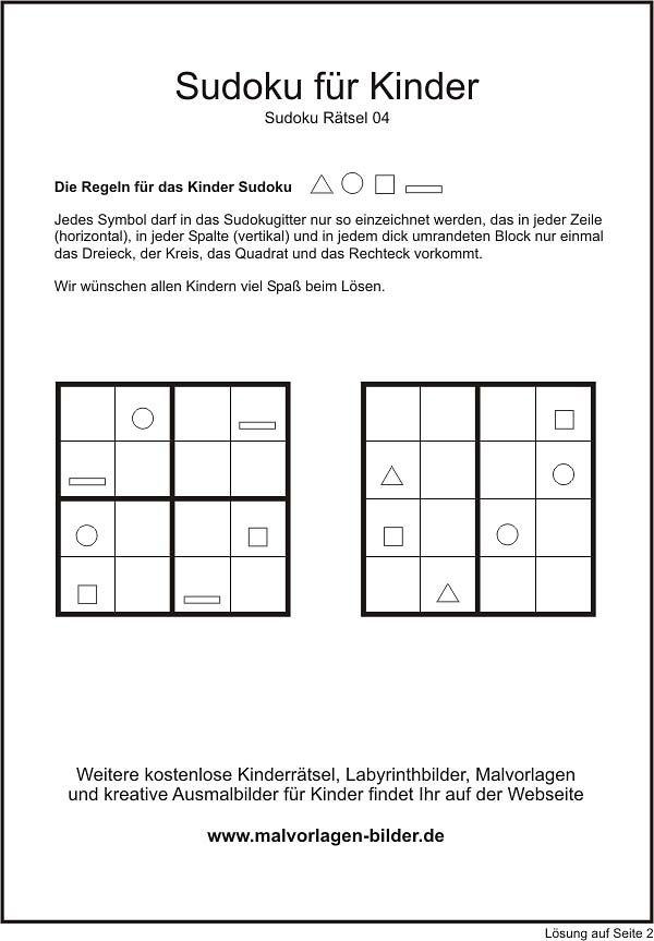 Sudoku Kinder Rätsel | Mathe Grundschule | Pinterest | Sudoku kinder ...