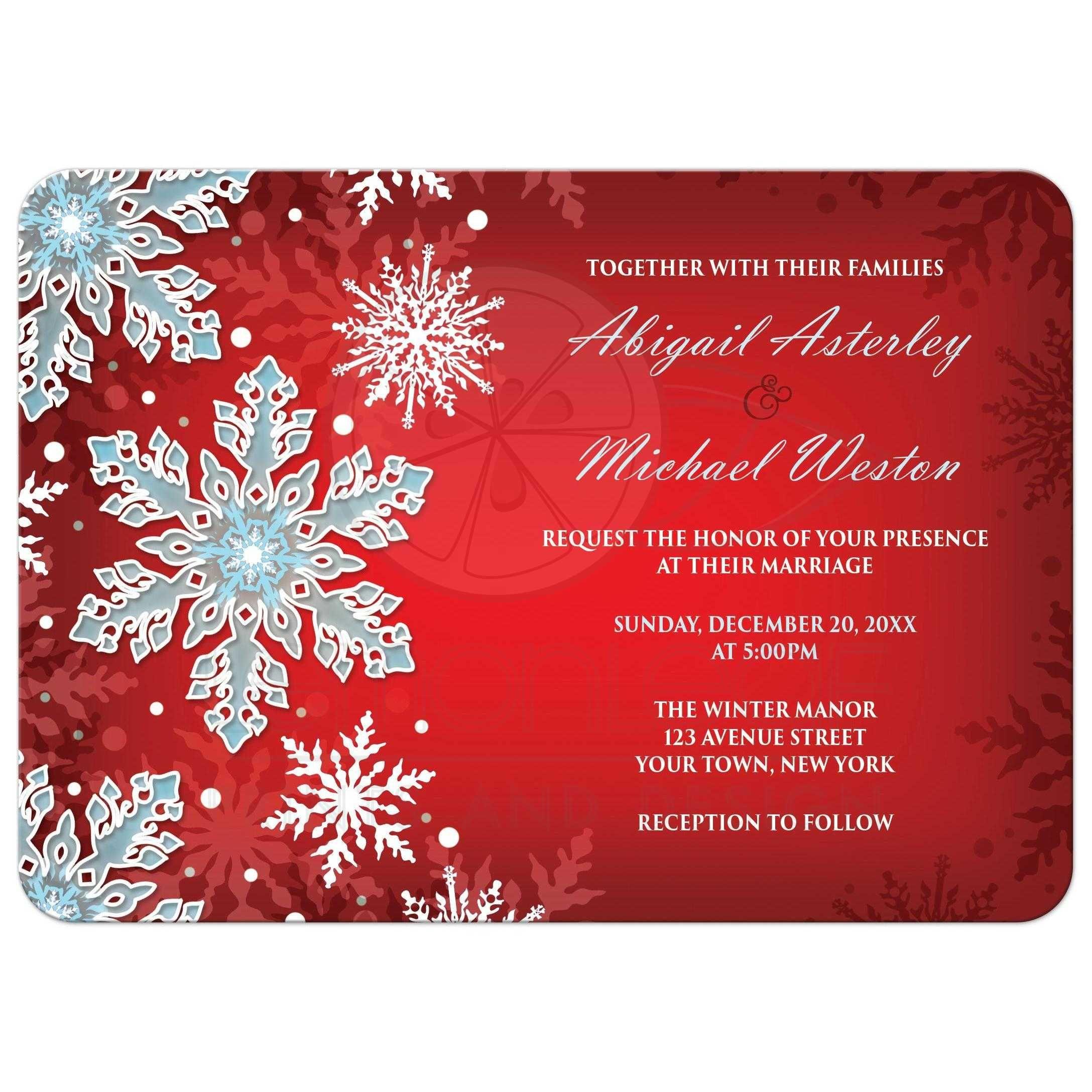 Wedding Invitations - Royal Red White Blue Snowflake | A Winter ...