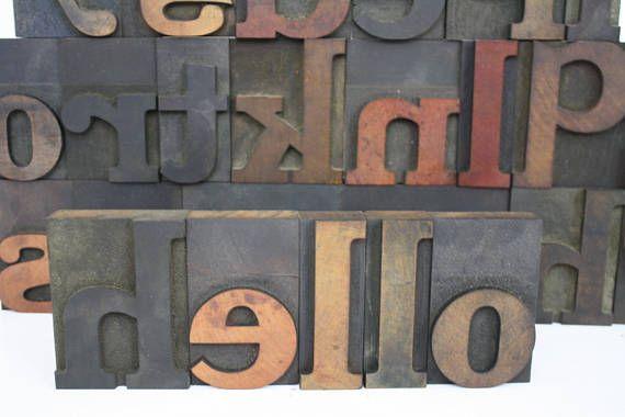 Large Wood Letterpress Letters Wooden Printing Press Blocks Pick