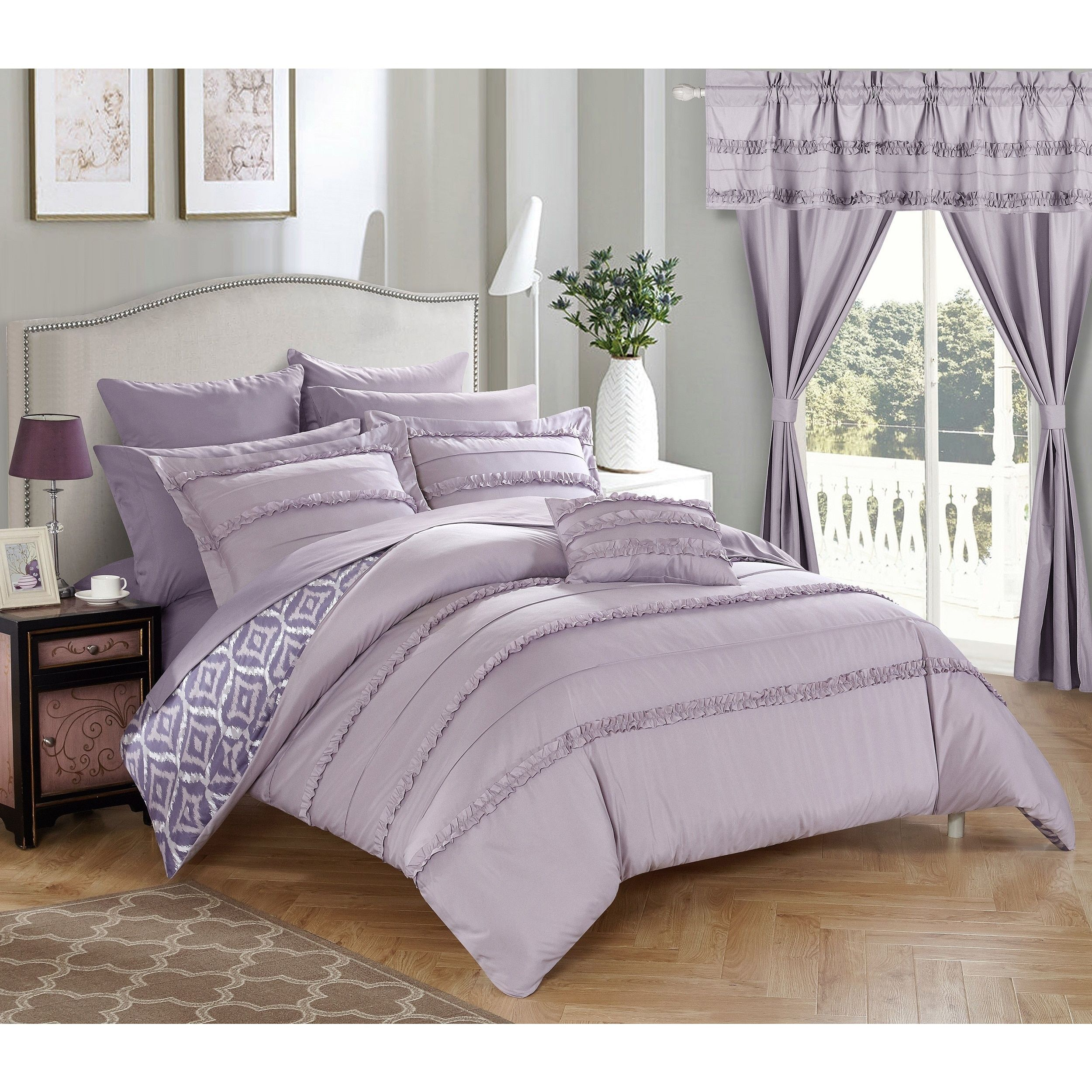 Chic Home 20 Piece Kyrie Room In A Bag Lavender forter Set