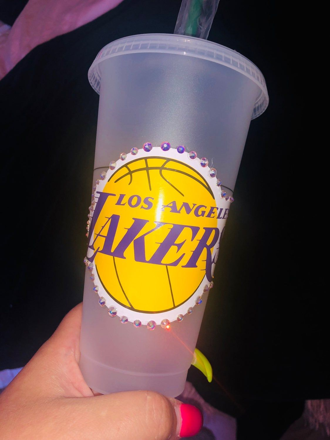 Lakers Starbucks Reusable Cup Venti Size Handmade With Swarovski Crystals And Permanent Layered Vinyl Ca Starbucks Cups Personalized Starbucks Cup Custom Cups