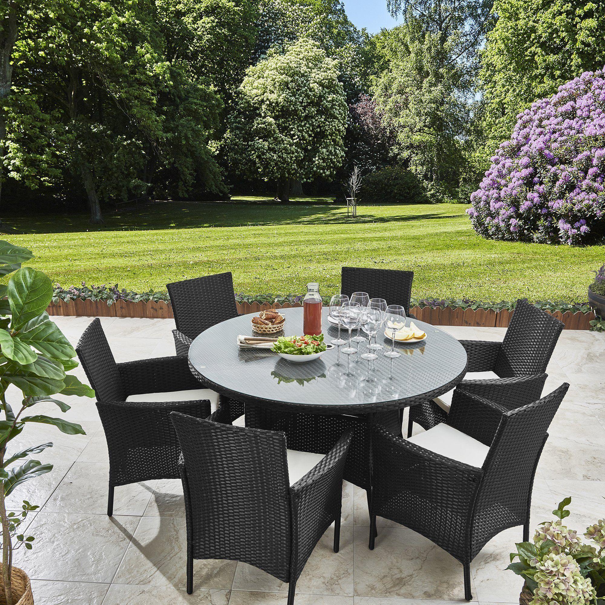 6 Seater Rattan Round Dining Table Set In Black Garden Furniture Outdoor Round Dining Set Grey Garden Furniture Round Dining Table Sets