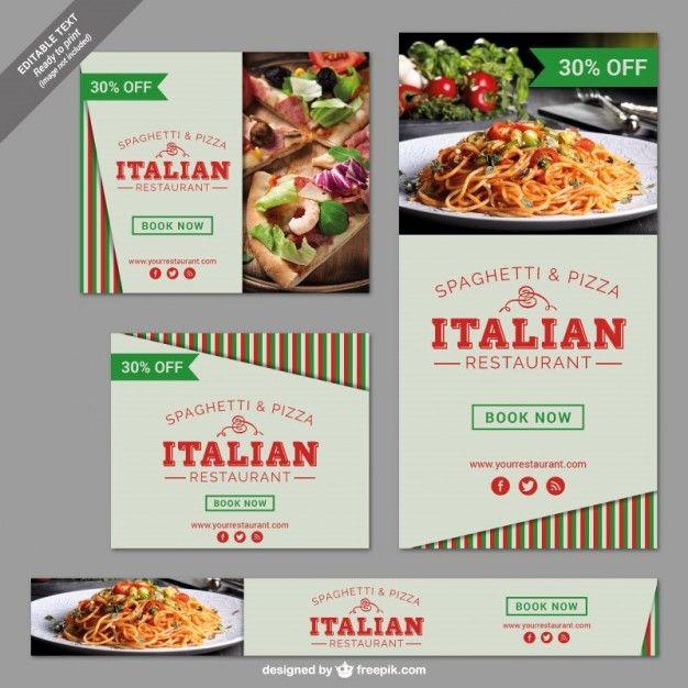 Italian Restaurant Banner Set  FlyerCard    Banners