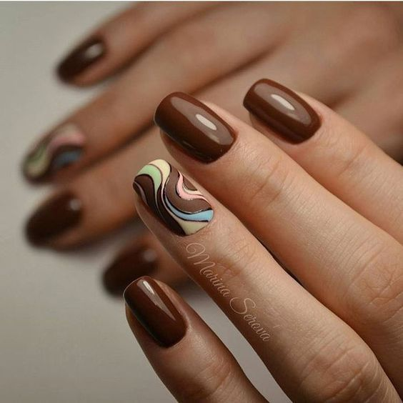 Brown Nail Designs For Short Nails In 2020 Brown Nails Design Ring Finger Nails Brown Nail Art
