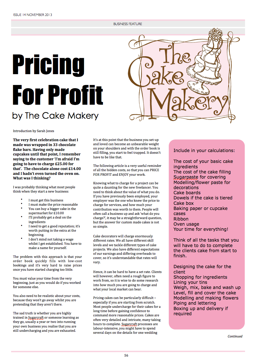 Pricing Chart for Designer Cakes cake decorating and