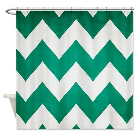 2013 Emerald Green Chevron Shower Curtain By Cherokeerosemade Cafepress Chevron Shower Curtain Emerald Green Curtains Green Curtains
