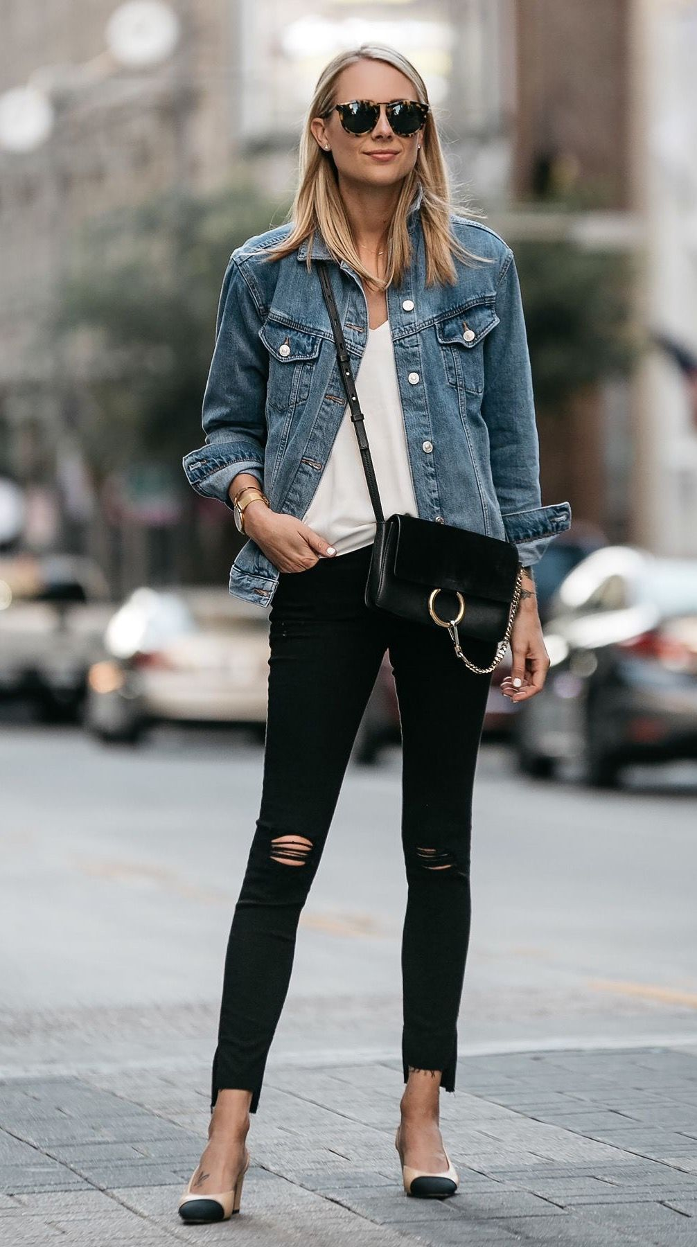 c75b2657042 Denim jacket. Black ripped jeans. Heels. Chloe small faye ...