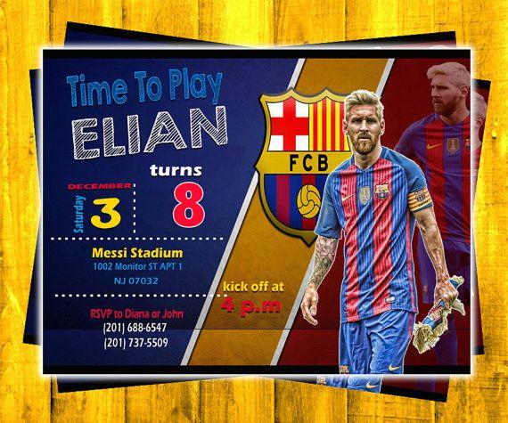 Messi Soccer Birthday Invitation Invitaciones De