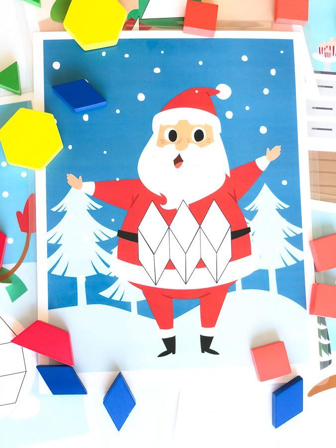 printable christmas pattern block mats for kids