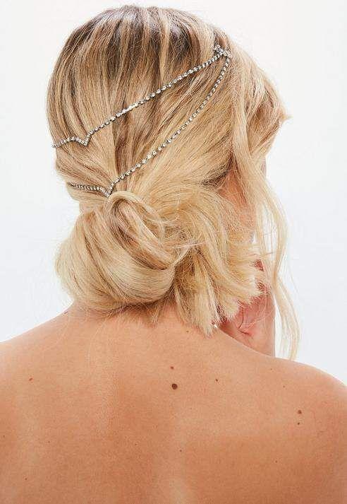 7efac27c7dd08 Missguided Silver Diamante Hair Chain | Wedding Hair | Hair chains ...