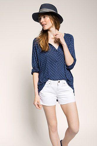 Esprit - Gestipt shirt van gladde jersey kopen in de online shop