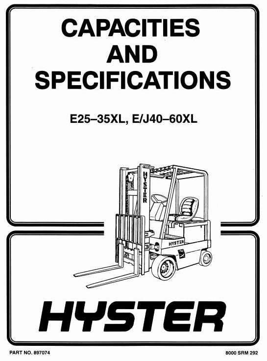 Hyster Forklift Truck Type C108 E2 00xl E40xl E2 50xl E50xl E3 00xl E60xl Workshop Manual