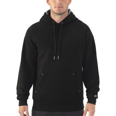 Russell Men's Rich Cotton Fleece Pullover Hood, Size: Large, Black ...
