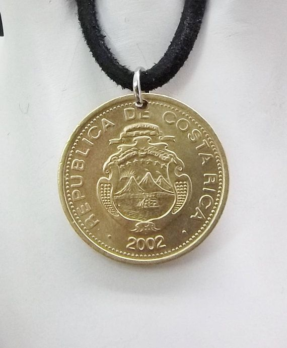 Costa Rica Coin Necklace 10 Colones Coin by AutumnWindsJewelry