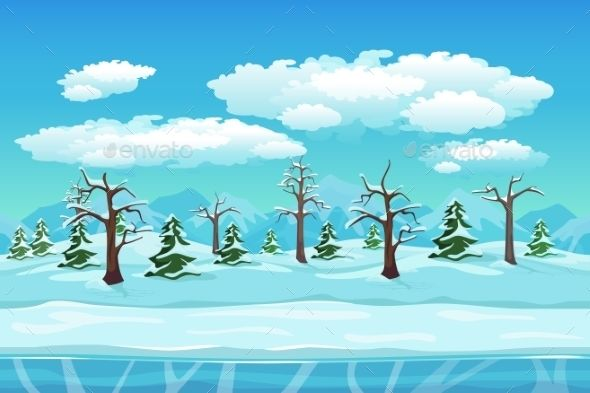 Cartoon Winter Landscape With Ice Snow And Cloudy Winter Landscape Landscape Nature Backgrounds