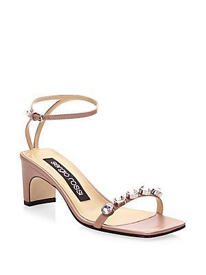 Sergio Rossi Embossed Leather Ankle Strap Sandals comfortable sale online free shipping authentic XwUjQ