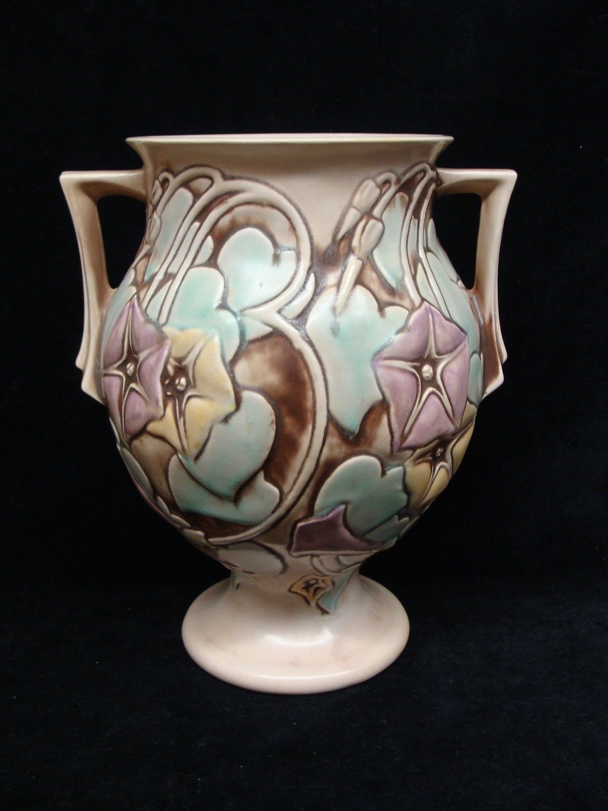 Art Deco Style Mid Period Roseville Art Pottery Morning Glory White Vase Footed   eBay