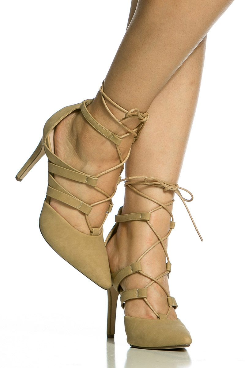 Taupe Faux Suede Wrap Around Lace Up Heels #Ad #Suede, #AD, #Faux, #Taupe, #Heels