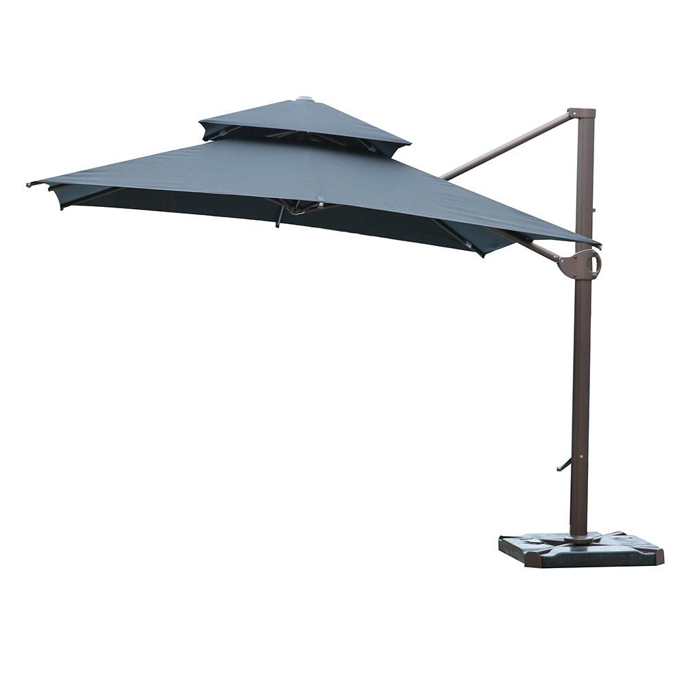 Sorara 10 By 10 Ft Square Offset Cantilever Umbrella Patio Hanging Umbrella With Dual Wind Vent Cross Base Patioche Offset Patio Umbrella Patio Patio Umbrella