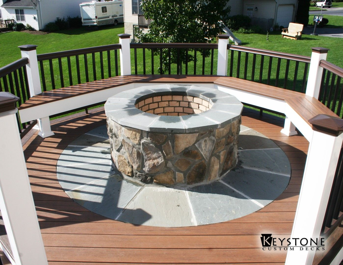 Custom Fire Pit Integrated Into A TimberTech Deck. Built By Keystone Custom  Decks.