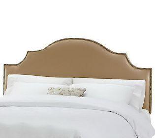 Linda Dano Linen Nail Button Notched King Headboard Home Decor