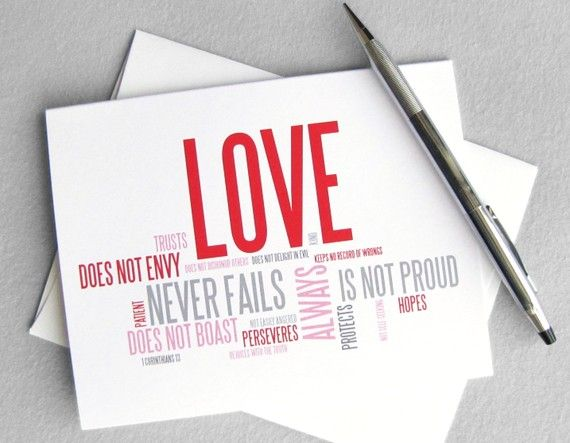 Wedding card anniversary card love is patient love is kind: 1