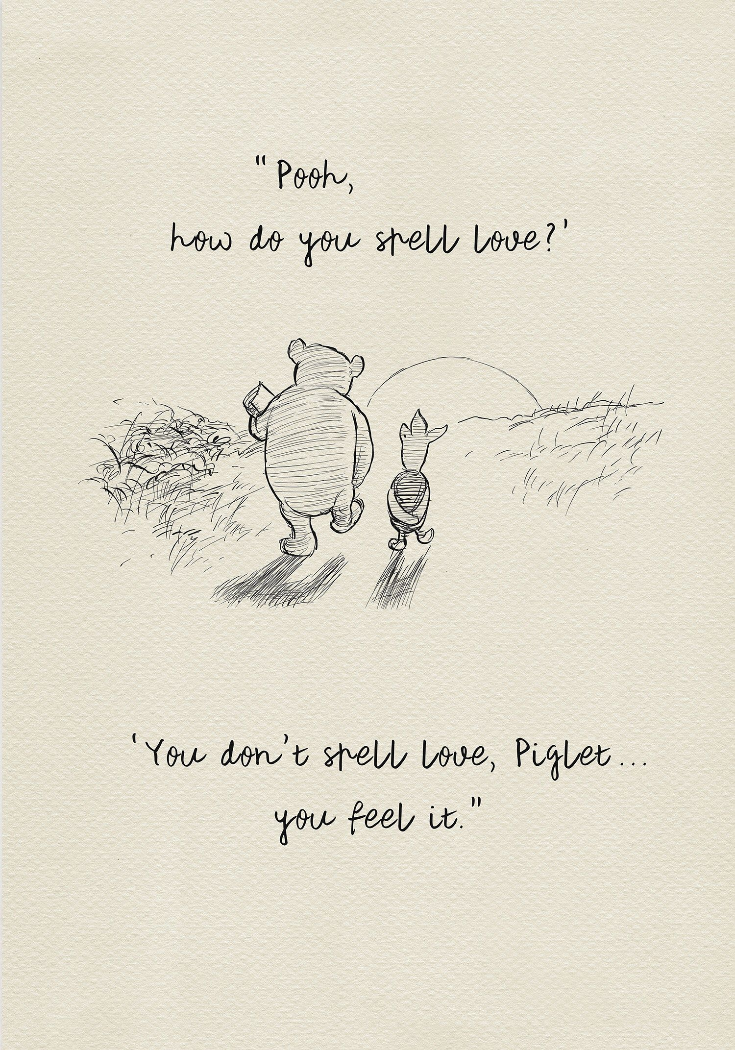 Pooh, how do you spell love? – Winnie the Pooh Quotes – classic vintage style poster print Pooh, how do you spell love? – Winnie the Pooh Quotes – classic vintage style poster.