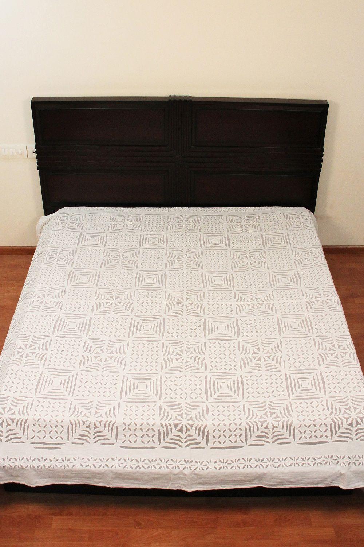 Delicate Applique Cut Indian Handmade White Organdy Bedspread Ethnic ...