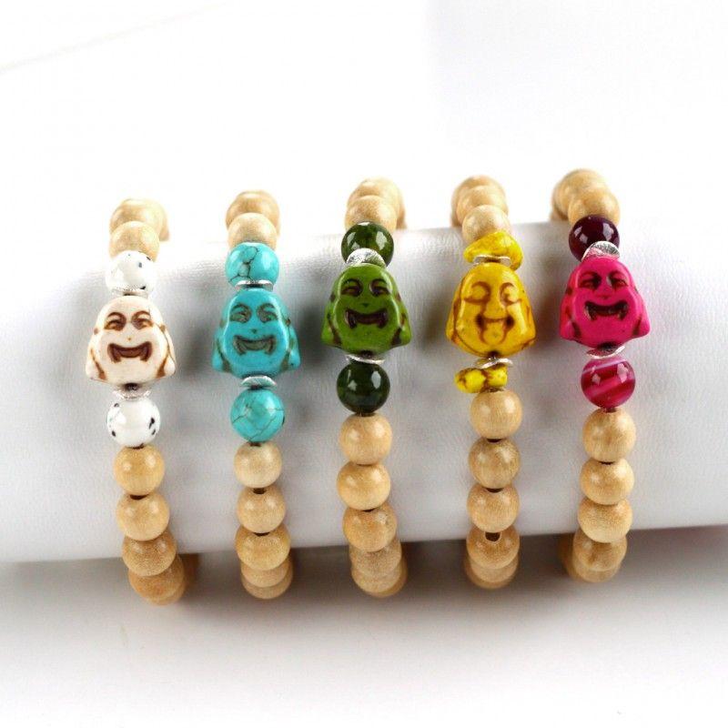 bracelet skull wood shell gemstone armcandy buddha