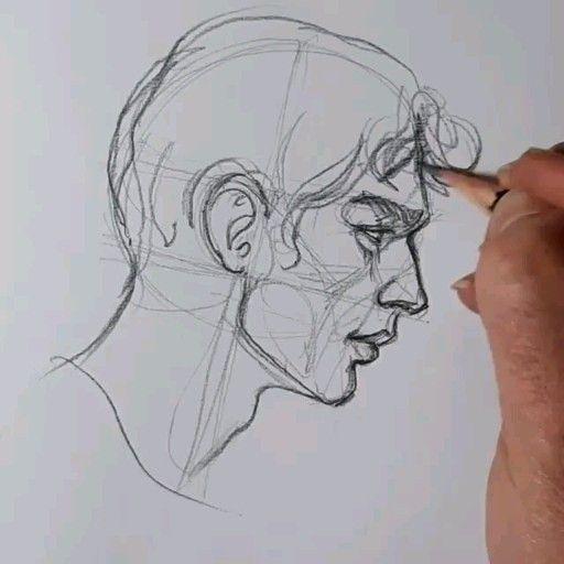 Photo of Графика академический рисунок скетчи построение головы череп профиль карандаш набросок видео урок