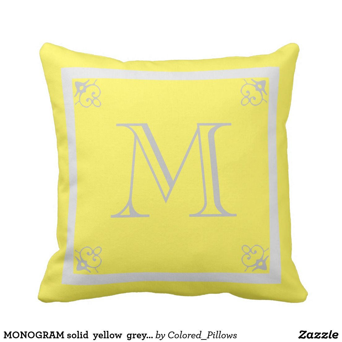 Monogram Solid Yellow Grey Custom Decorative Throw Pillow Pillows Decorative Throw Pillows Modern Pillows