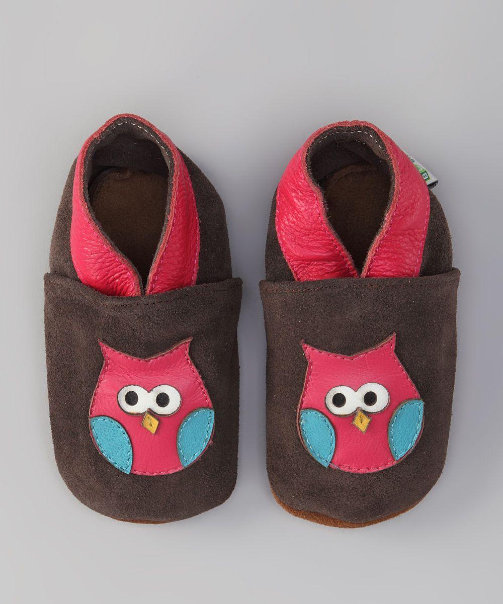 Brown & Pink Owl Booties