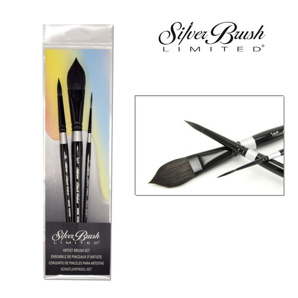 Black Velvet Aquarell Pinsel 3er Set Kurzstiel Silverbrush