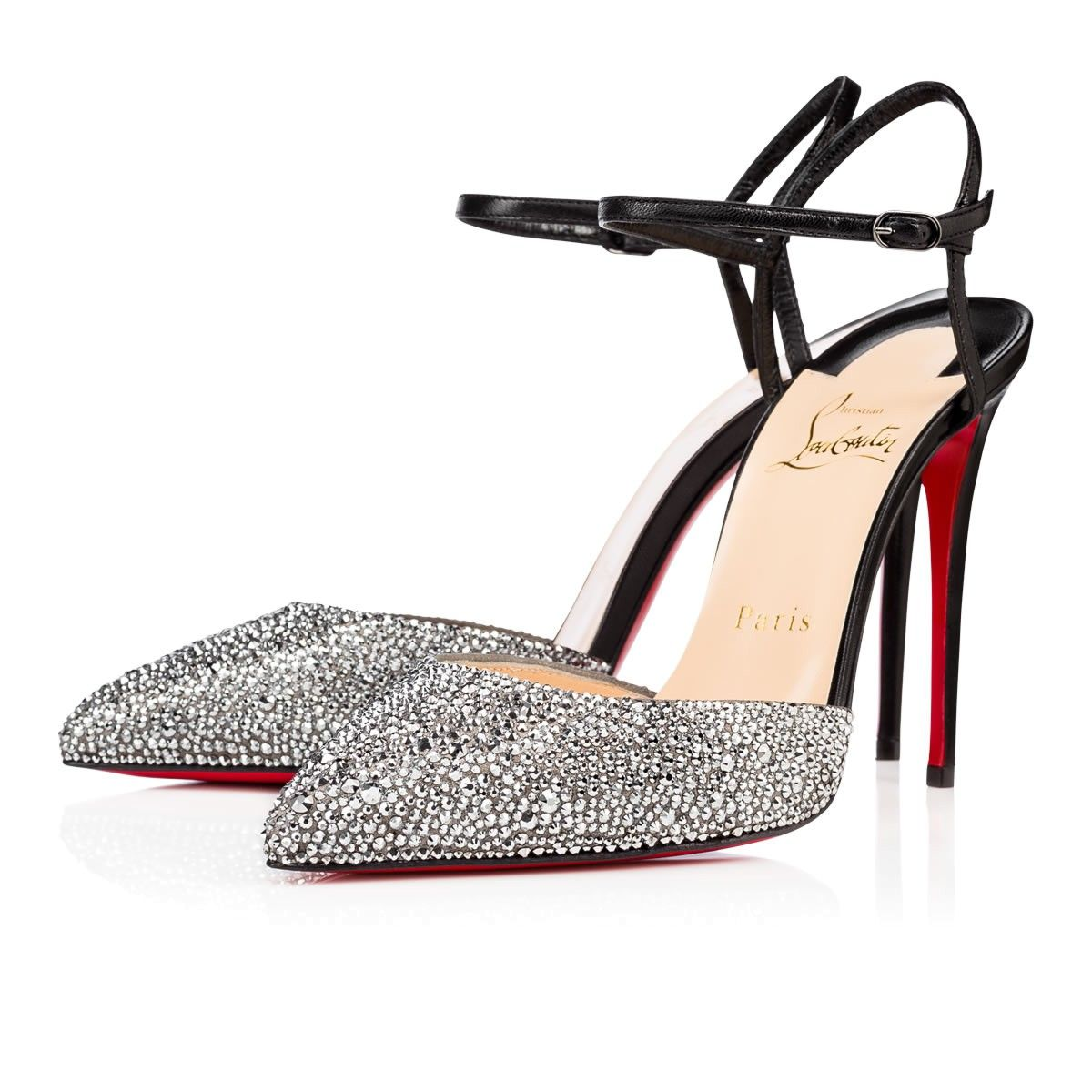 Rivierina strass 100 BLACK/METAL CHROME Strass - Women Shoes - Christian  Louboutin