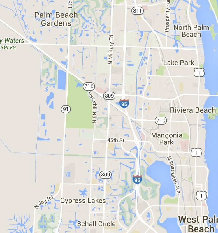 Palm Beach Gardens On Florida Map