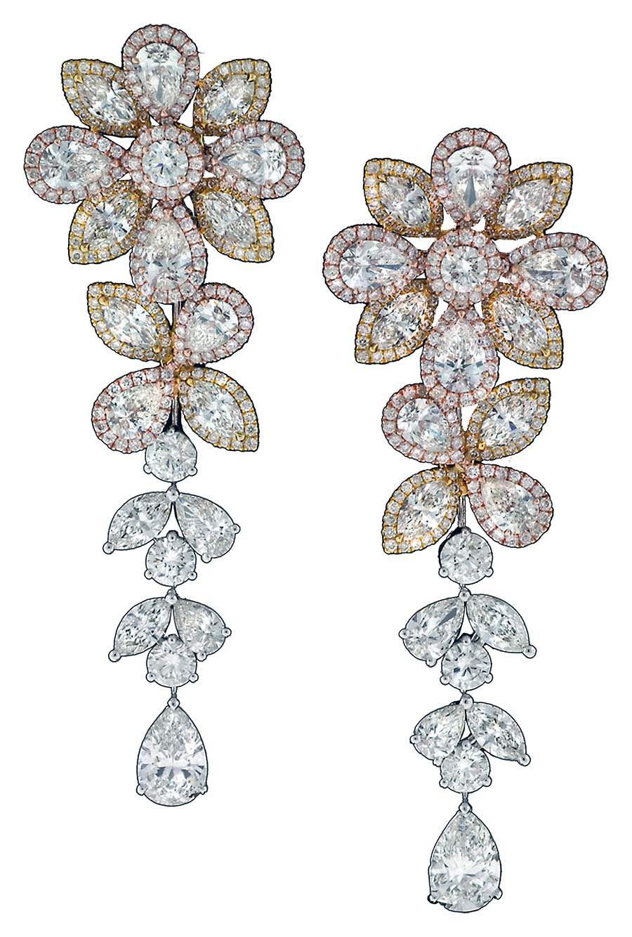 Dangle FLOWER Earrings Flower Earrings Stud. Detachable Floral Earrings Trendy Floral Earrings Hoop Pendant Earrings Floral Earrings