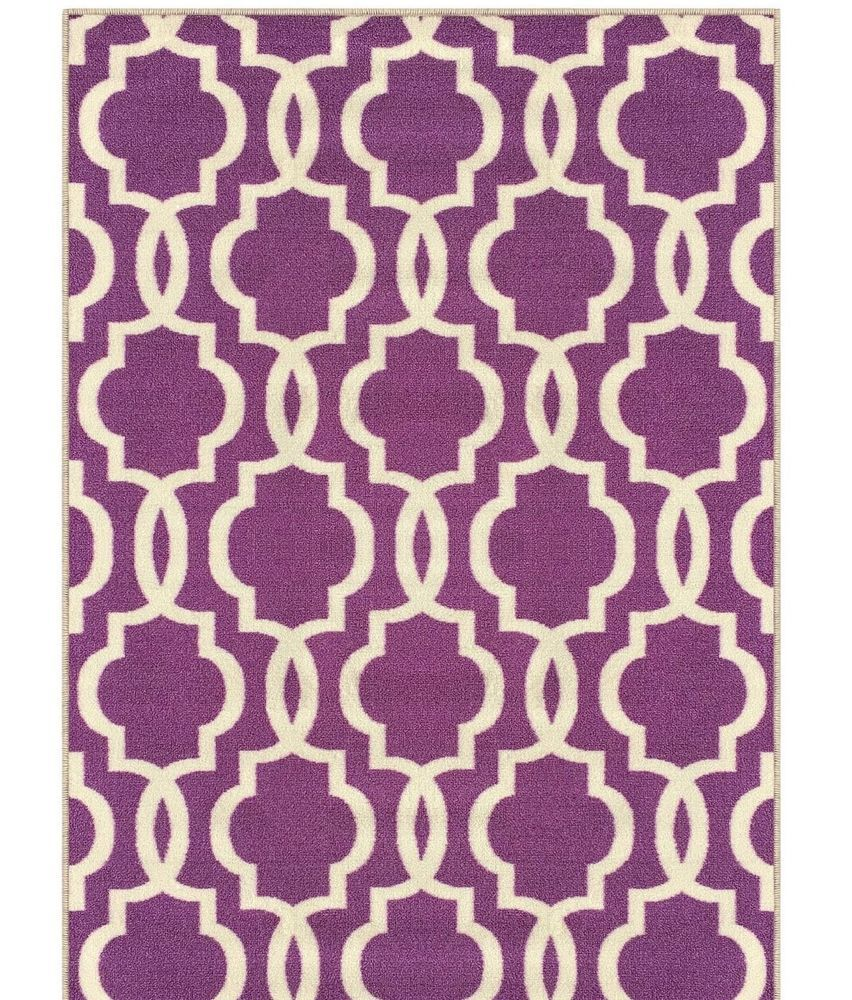 Details About Purple Ivory 3 4ftx5ft Trellis Area Rug Entryway Mat