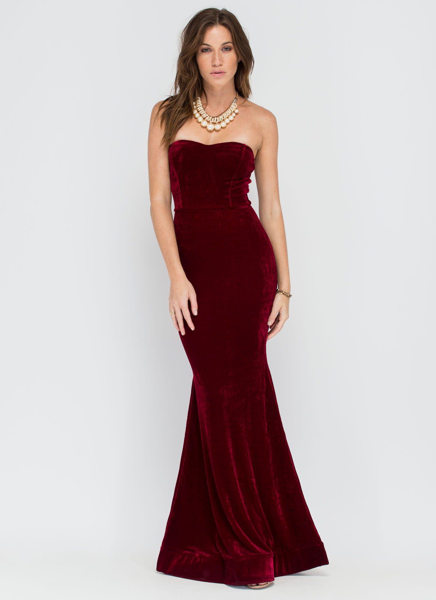 Velvet vixen strapless mermaid maxi navy wine gojane dresses