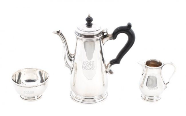 Three Piece Tiffany & Co Sterling Coffee Set : Lot 95 ...