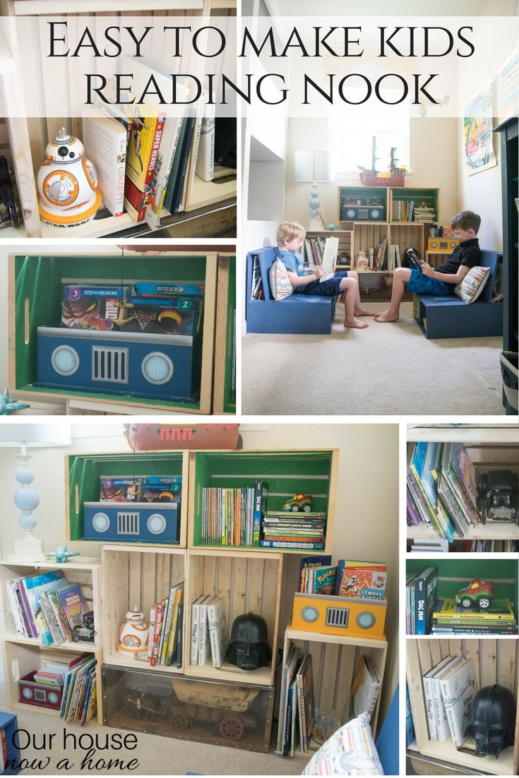 Diy wood crate bookshelf low cost and easy to make kids - Low cost bedroom decorating ideas ...
