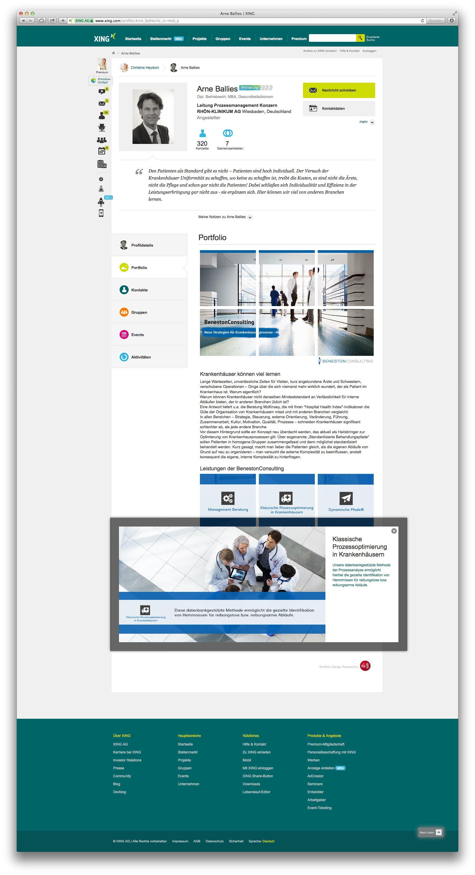 Xing Portfolio Des Geschaftsfuhrers Der Benestonconsulting Arne Ballies Ansicht Des Zoomfensters Klassische Prozessoptim Grafik Design Werbetechnik Konzeption