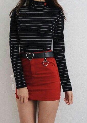 Winter fall outfit red mini skirt grunge rumble heart belt black striped blouse #women'sfashiongrunge