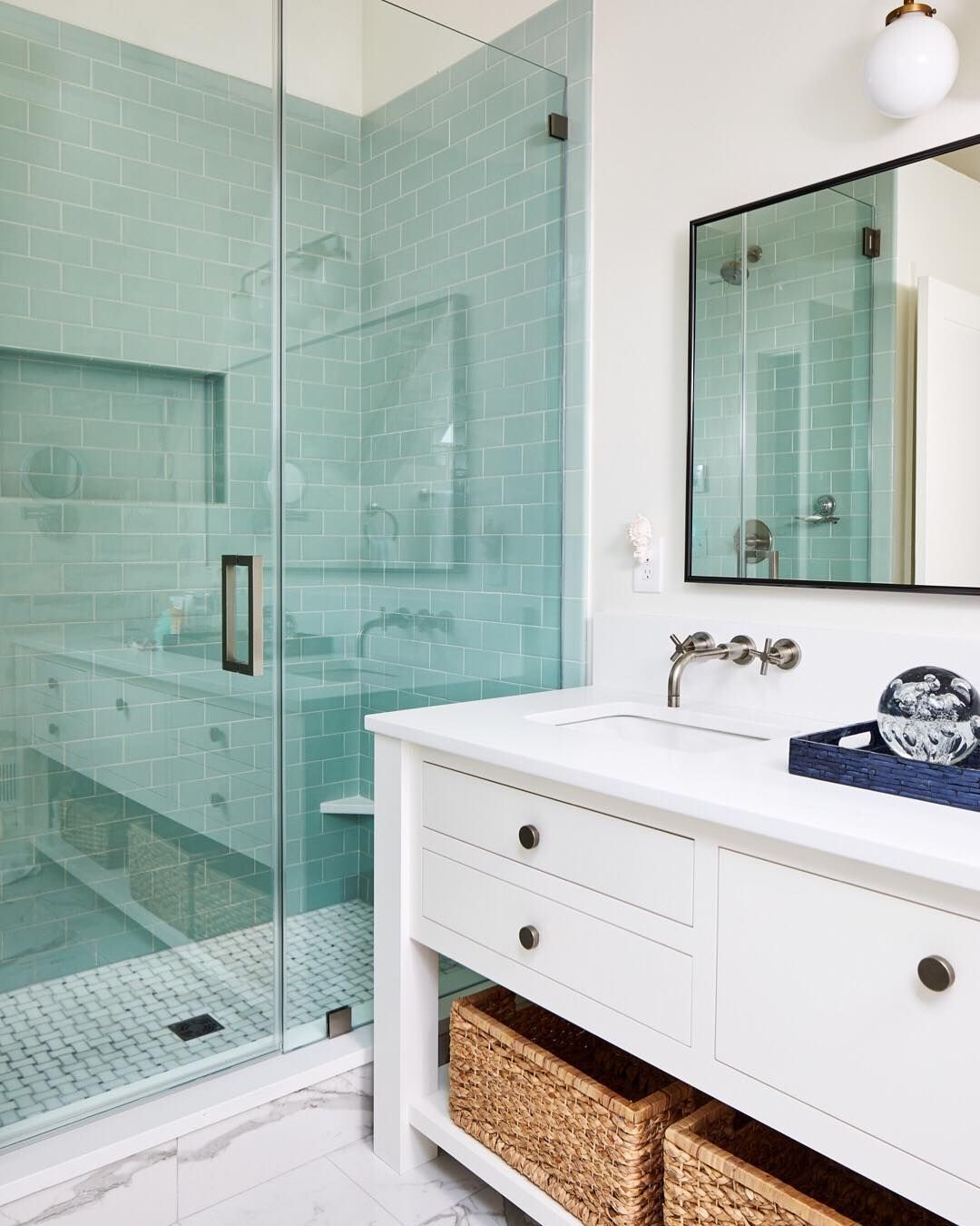 Studio Miel On Instagram This Is The Kind Of Shower That Makes You Want To Use All The Hot Water Aqua Bathroom Bathroom Renovation Shower Remodel
