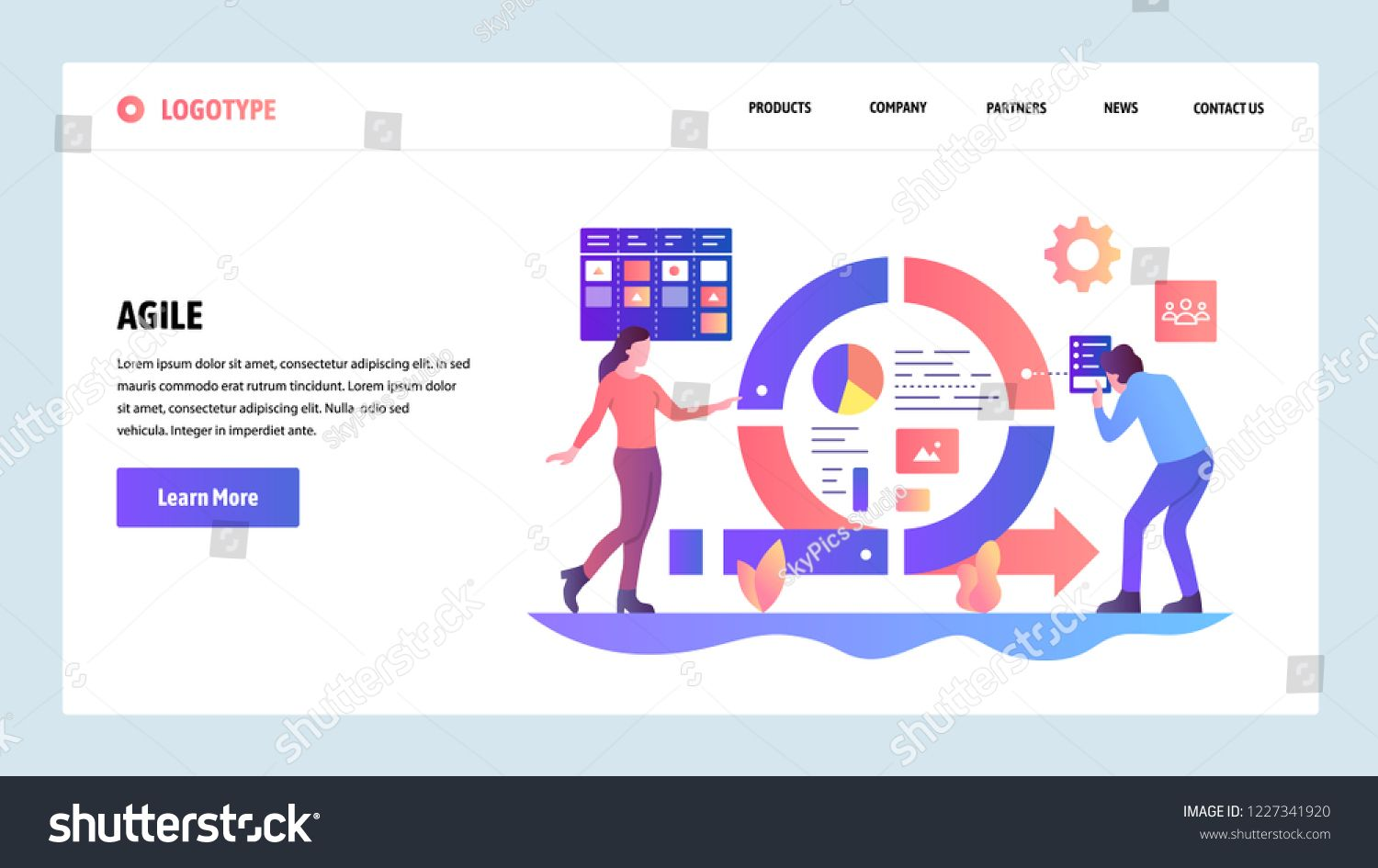 Vector Web Site Design Template Agile Project Management And Scrum Task Board Agi Agile Software Development Website Template Design Agile Project Management